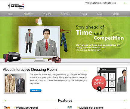 Web design of virtual suit designer for Virtual suit builder